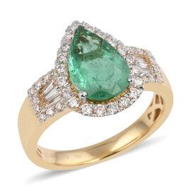 ILIANA 18K Yellow Gold Boyaca Colombian Emerald and Diamond  Ring 3.000 Ct.