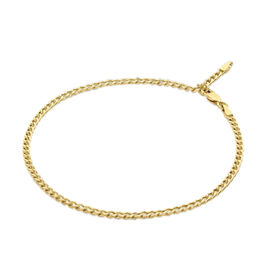 9K Yellow Gold Adjustable Curb Chain Anklet (Size 9 with 1 inch Extender), Gold wt 2.20 Gms