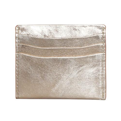 Assots London FANN Metallic Rose Gold Leather RFID Credit Card Holder