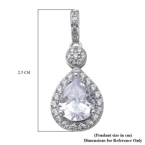 ELANZA Simulated Diamond Drop Pendant in Sterling Silver
