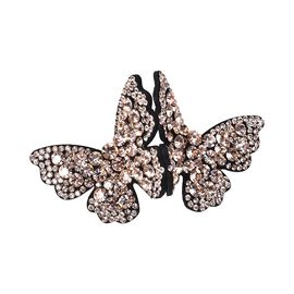 Austrian Crystal Butterfly Hair Clip - Champagne