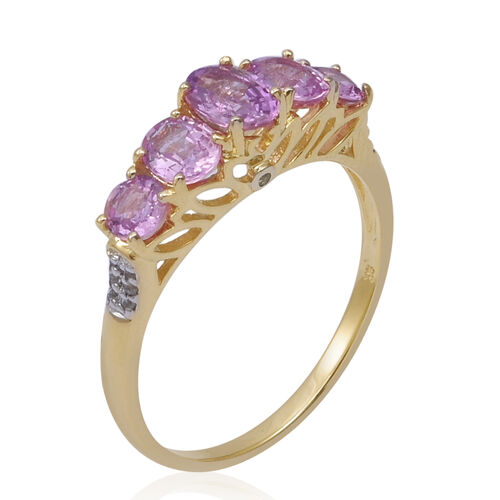 One Time Deal-9K Yellow Gold AA Pink Sapphire (Ovl), White Sapphire Ring 2.000 Ct.