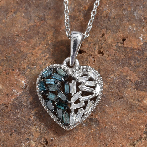 Blue and White Diamond (Rnd and Bgt) Heart Pendant With Chain (Size 20) in Platinum Overlay with Blue Plating Sterling Silver 0.250 Ct.