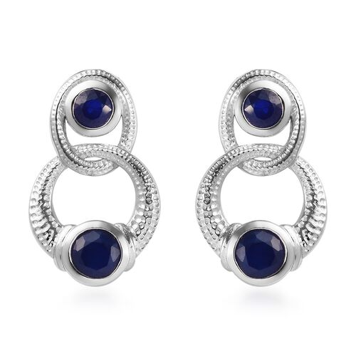 Tanzanian Blue Spinel Earrings (with Push Back) Platinum Overlay Sterling Silver 1.75 Ct.