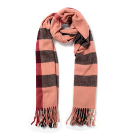 Black and Brick Colour Chequered Pattern Scarf (Size 62x195+9 Cm)