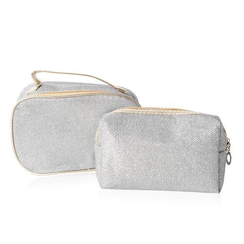 Set of 2 - Silver Colour Water Resistant Cosmetic Bags with Multi Functional (Size 18x10x6 and 20x12