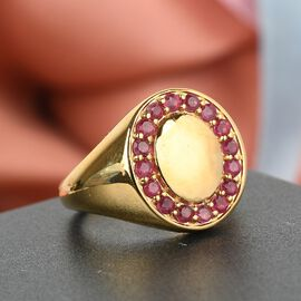 African Ruby (FF) Ring in 14K Gold Overlay Sterling Silver 1.030 Ct., Silver wt 6.11 Gms
