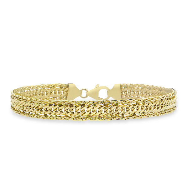9K Yellow Gold Curb Spiga Bracelet (Size 7), Gold wt 4.90 Gms