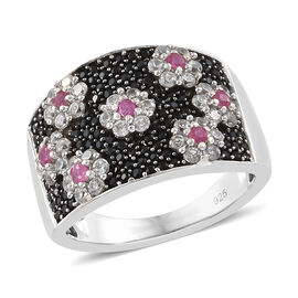 Boi Ploi Black Spinel (Rnd), Natural Cambodian Zircon and African Ruby Floral Ring in Platinum Overl
