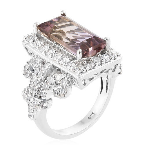 Natural Anahi Ametrine (Bgt 3.75 Ct), Natural White Cambodian Zircon Cluster Ring in Platinum Overlay Sterling Silver 5.750 Ct, Silver wt 7.16 Gms.