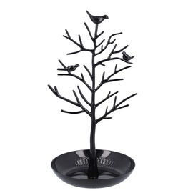 Antique Birds on Tree Stand Jewellery Holder Display in Black