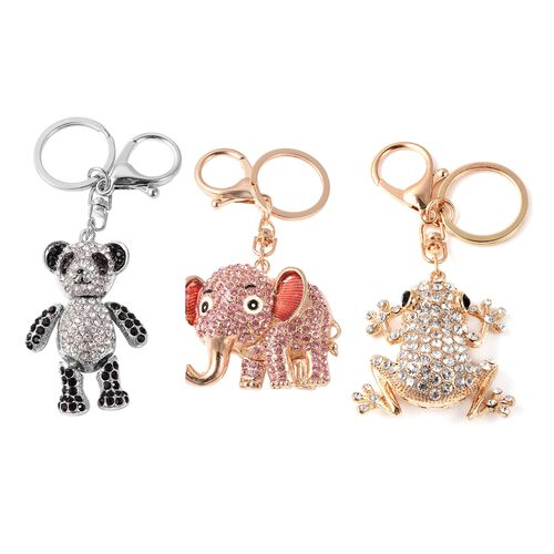 Set of 3 - White, Black and Pink Austrian Crystal Panda, Elephant and Frog Enamelled Keychain in Sil