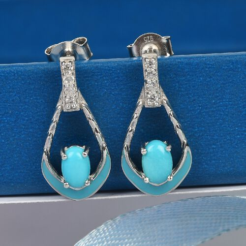 AA Arizona Sleeping Beauty Turquoise and Natural Cambodian Zircon Dangling Earrings (with Push Back) in Platinum Overlay Sterling Silver 1.00 Ct.