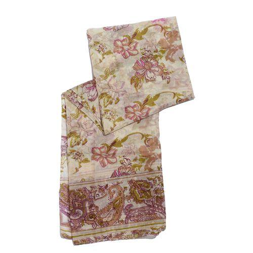 100% Mulberry Silk Multi Colour Handscreen Floral Printed Cream Colour Scarf (Size 175x100 Cm)