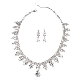 Simulated Diamond (Pear), White Austrian Crystal Necklace (Size 20 with 4 inch Extender) and Earring