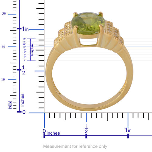 AA Hebei Peridot (Ovl 2.75 Ct), White Topaz Ring in Yellow Gold Overlay Sterling Silver 2.900 Ct.