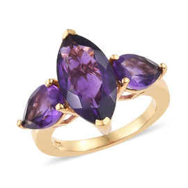 Amethyst (Mrq 16x8 mm) 3 Stone Ring in 14K Gold Overlay Sterling Silver 5.750 Ct.