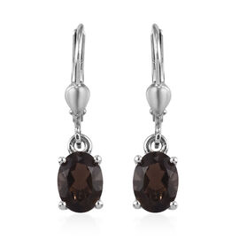AA Brazilian Smoky Quartz (Ovl) Lever Back Earrings in Platinum Overlay Sterling Silver 2.25 Ct.