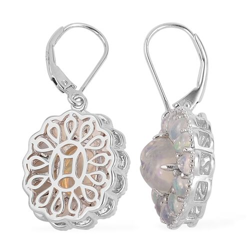 Smiling Face Carved Ethiopian Welo Opal (Ovl) Lever Back Earrings in Rhodium Plated Sterling Silver 5.000 Ct.