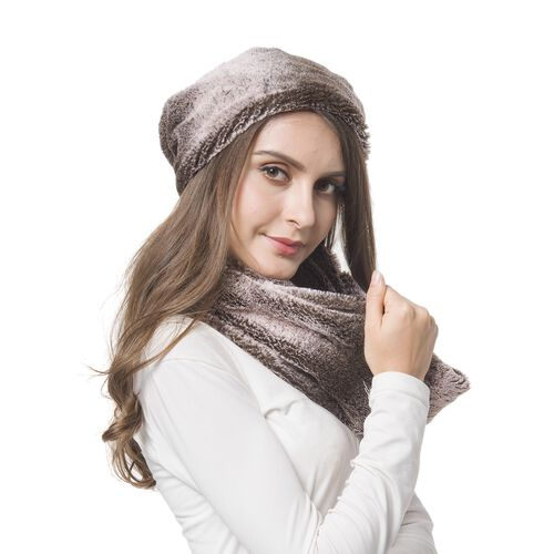 Brand New For the Season - Chocolate Colour Faux Fur Scarf (Size 80X18 Cm) and Hat (Size 30X29 Cm) Set
