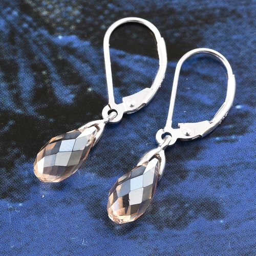 J Francis Crystal from Swarovski - Golden Shadow Crystal Drop Lever Back Earrings in Sterling Silver