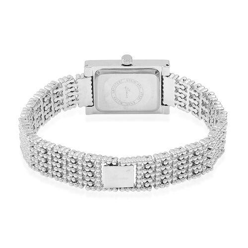 Designer Inspired- Diamond Studded GENOA Japanese Movement Bracelet Watch in Silver Tone