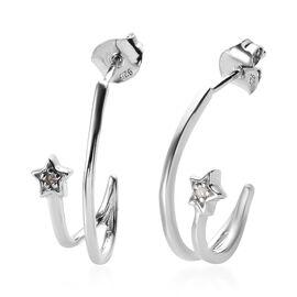 Diamond Star J Hoop Earrings in Platinum Plated Sterling Silver