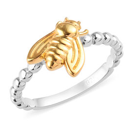 Platinum and Yellow Gold Overlay Sterling Silver Bee Ring