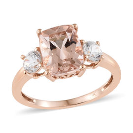 2.50 Carat AA Morganite and Cambodian Zircon 3 Stone Ring in 9K Rose Gold 1.67 Grams