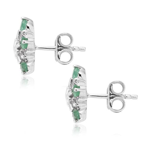 1.50 Carat AA Kagem Zambian Emerald and Natural Cambodian Zircon Snowflake Earrings in 9K White Gold (with Push Back)