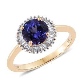 ILIANA 1.5 Ct AAA Tanzanite and Diamond SI GH Halo Ring in 18K Gold