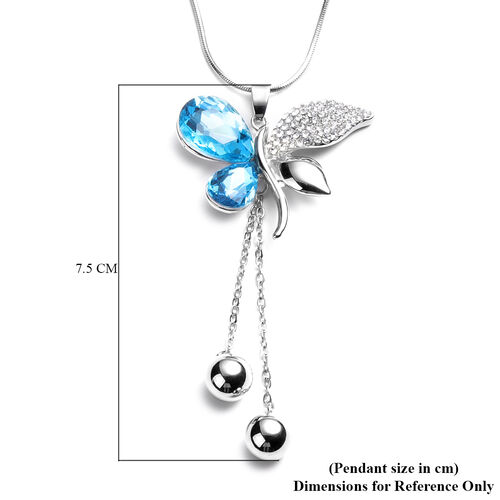 Simulated Blue Topaz, White Austrian Crystal Butterfly Pendant With Chain (Size 30 with Extender) in Silver Tone