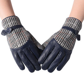 100% Genuine Leather Plaid Pattern Gloves with Bowknot - Navy