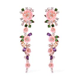 Jardin Collection - Pink Mother of Pearl and Multi Gemstone Enameled Earrings (with Clasp) in Rose G