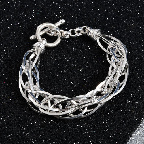 One Time Deal- Sterling Silver Prince of Wales Bracelet (Size 7.5), Silver wt 31.01 Gms