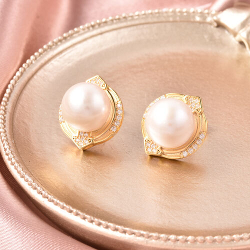 Edison Pearl and Natural Cambodian Zircon Stud Earrings (with Push Back) in Yellow Gold Overlay Sterling Silver