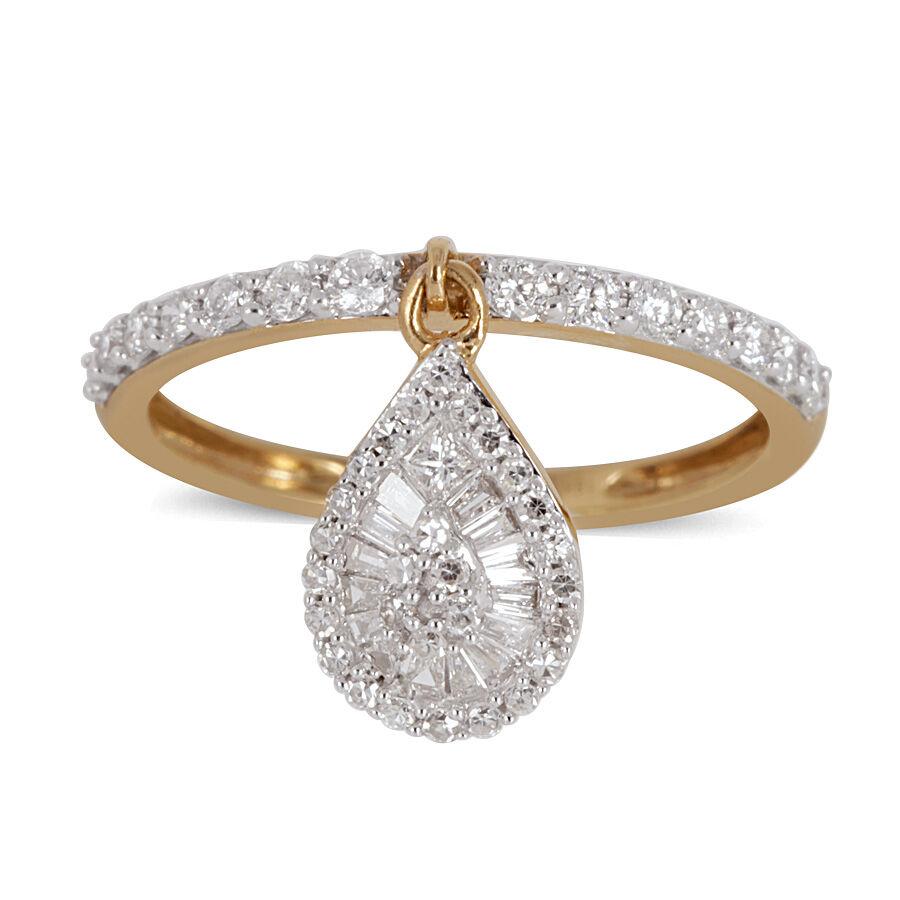 ILIANA 18K Y Gold SGL Certified Diamond (SI  G-H) Drop Charm Ring 0.500 ... 4385a23cd8