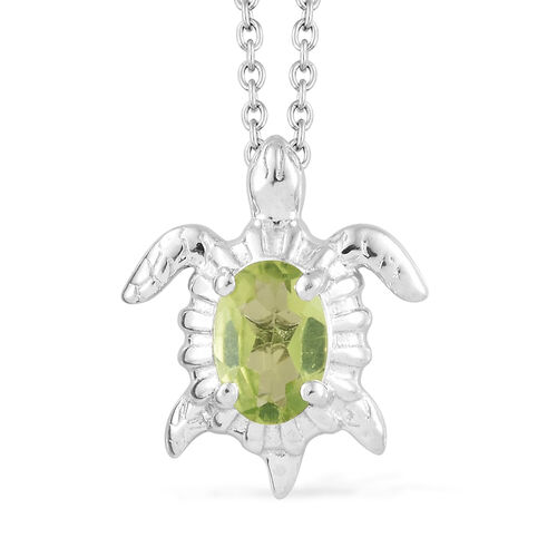 Hebei Peridot (Ovl) Turtoise Pendant with Chain (Size 20) in Platinum Overlay Sterling Silver.