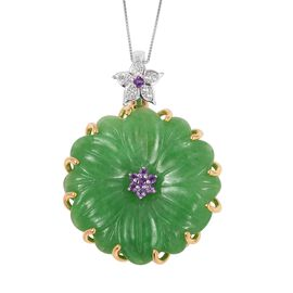 Carved Green Jade, Amethyst and White Zircon Pendant With Chain in Two Tone and Rhodium Overlay Ster