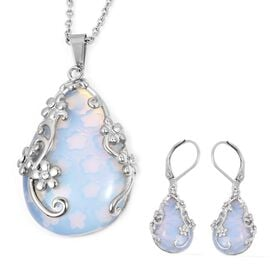 2 Pcs Set 70 Carat Opalite and White Crystal Solitaire Drop Earring and Pendant With Chain