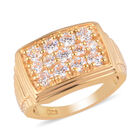 J Francis - 14K Gold Overlay Sterling Silver Signet Ring (Size S) Made with SWAROVSKI ZIRCONIA