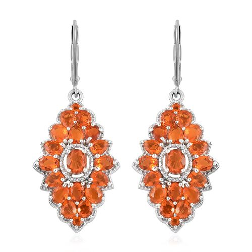 WEBEX- Jalisco Fire Opal (Ovl) Floral Cluster Earrings (with Lever Back) in Platinum Overlay Sterling Silver 4.250 Ct, Silver wt. 6.40 Gms.