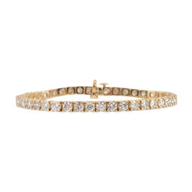 14K Yellow Gold EGL Certified Diamond (Rnd) (I1-I2/F-H) Bracelet (Size 7) 10.00 Ct, Gold wt 16.70 Gm