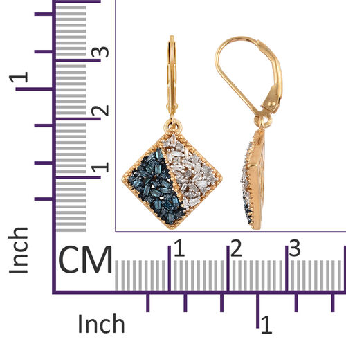 Blue and White Diamond (Bgt) Lever Back Earrings in 14K Gold and Platinum Overlay with Blue Plating Sterling Silver 0.500 Ct.