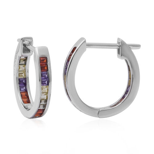 ELANZA Simulated Rainbow Sapphire Hoop Earrings in Rhodium Overlay Sterling Silver 2.00 Ct.