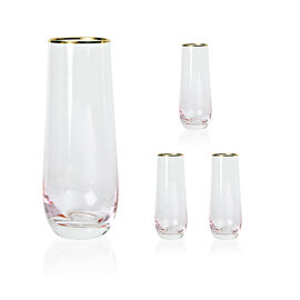Set of 4 - Glasses in Light Pink Colour with Gold Rim