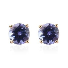 9K Yellow Gold AA Tanzanite (Rnd) Stud Earrings (with Push Back) 1.00 Ct.