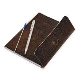 Luxury Silver Pen (10 Gms) With 1 Extra Refill and Embossed Leather Diary (Size 17.5X12.5 Cm) - Tree