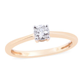 Super Auction - ILIANA 18K Yellow Gold IGI Certified Diamond (Rnd) (SI/G-H) Solitaire Ring 0.33 Ct.