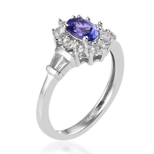 AAA Tanzanite and Natural Cambodian Zircon in Platinum Overlay Sterling Silver 1.00 Ct.
